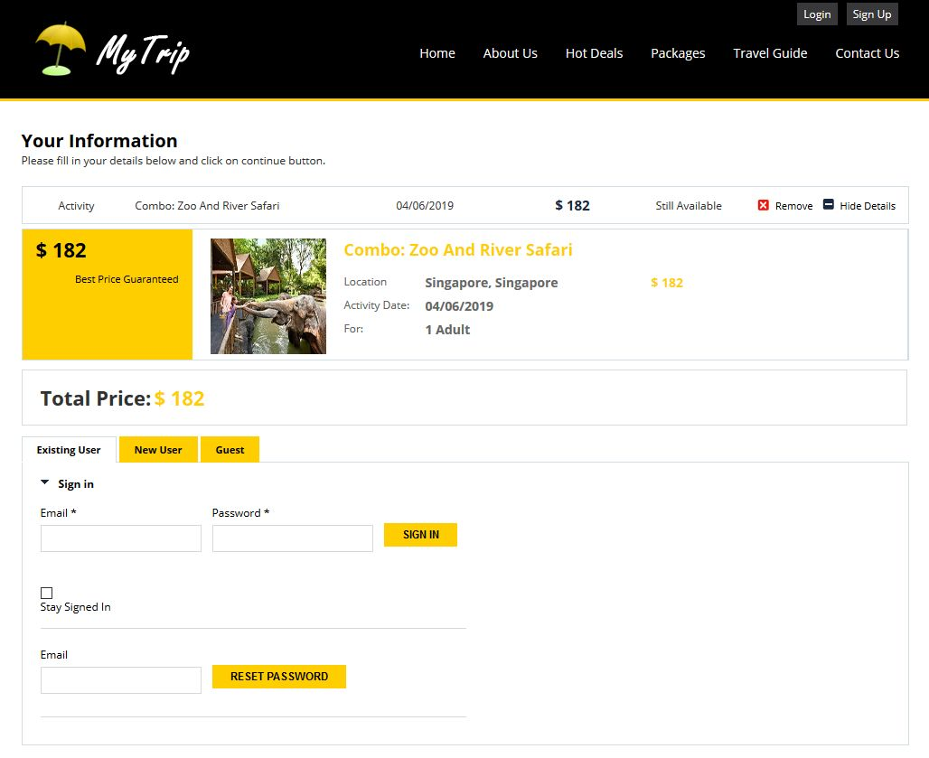 Activity Checkout Page - Theme 2