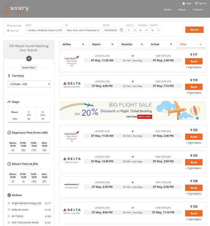 Flight Results Page with Promotion