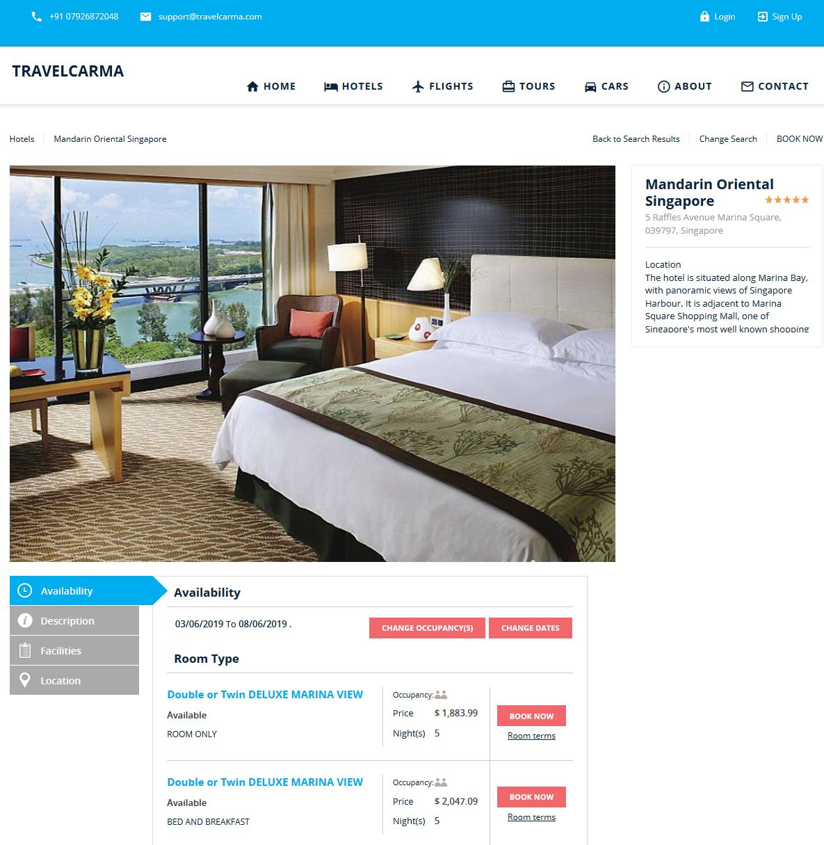 Hotel Details with real-time room rates and availability - Theme 2