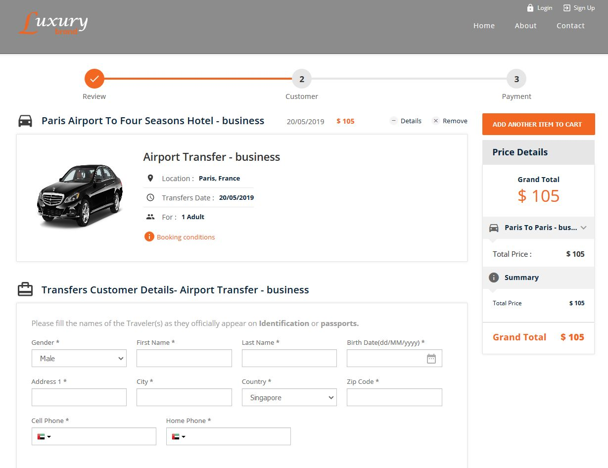 Transfer Checkout Page with the ability to add other items