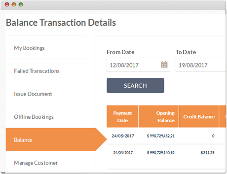 TravelCarma Back Office Balance Ledger