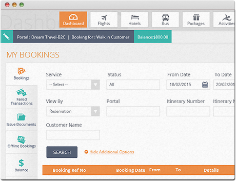 TravelCarma Booking Engine Search Results