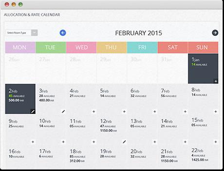 Calendario de tarifas de hoteles de TravelCarma CRS