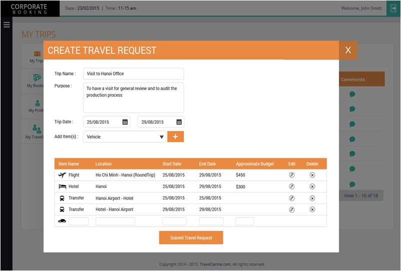 Employee Travel Request Form