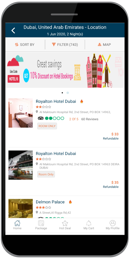B2C Mobile app Hotel Details with real-time room rates and availability