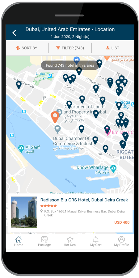 B2C Mobile app Hotel Location with Map