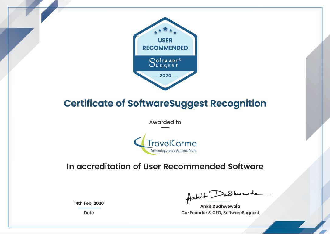 TravelCarma Awarded by SoftwareSuggest